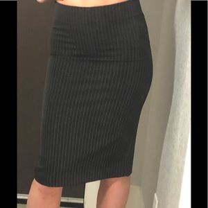 Simple fitted high-waisted pinstripe pencil skirt